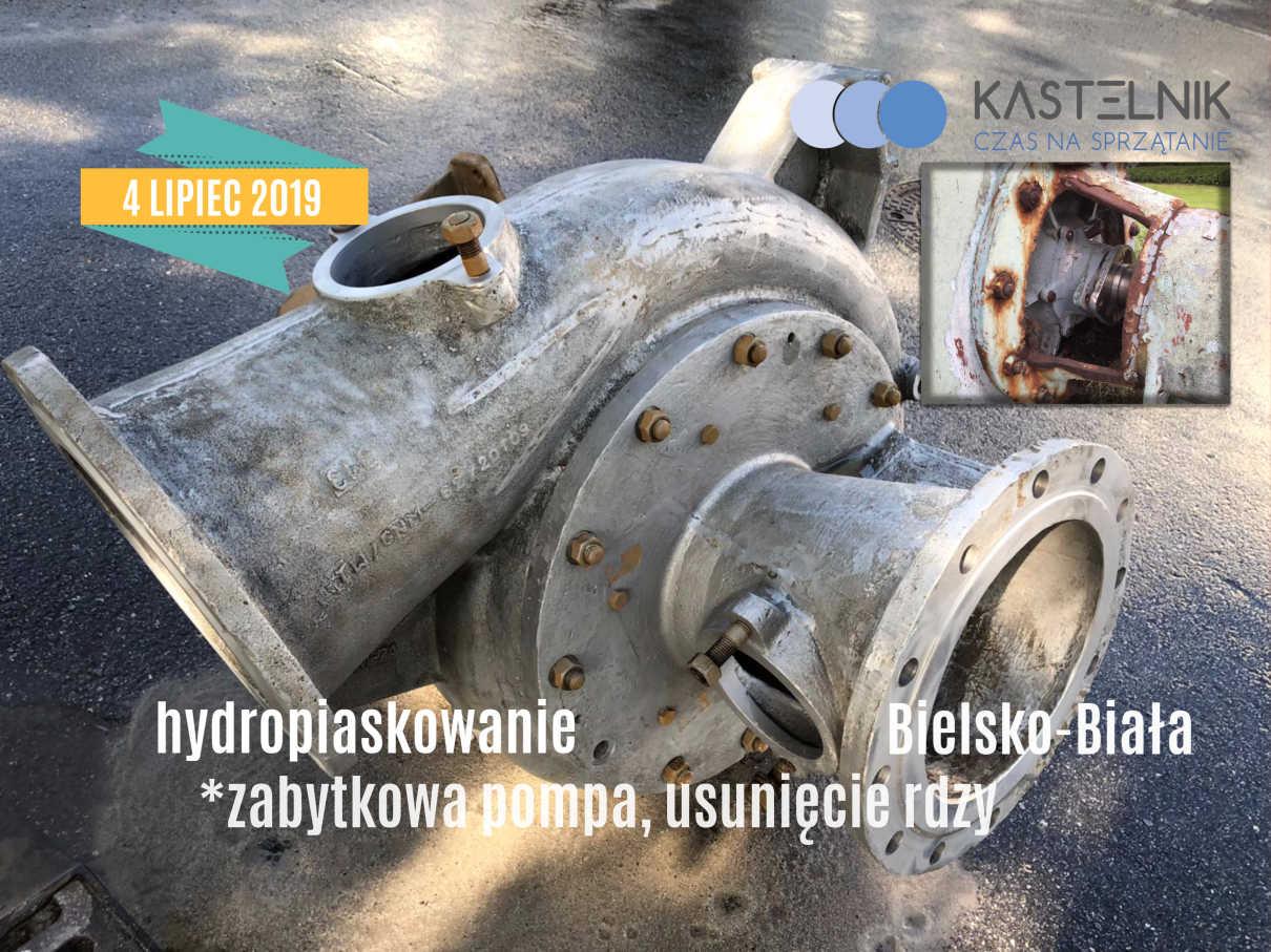 Hydro-piaskowanie zabytkowej pompy