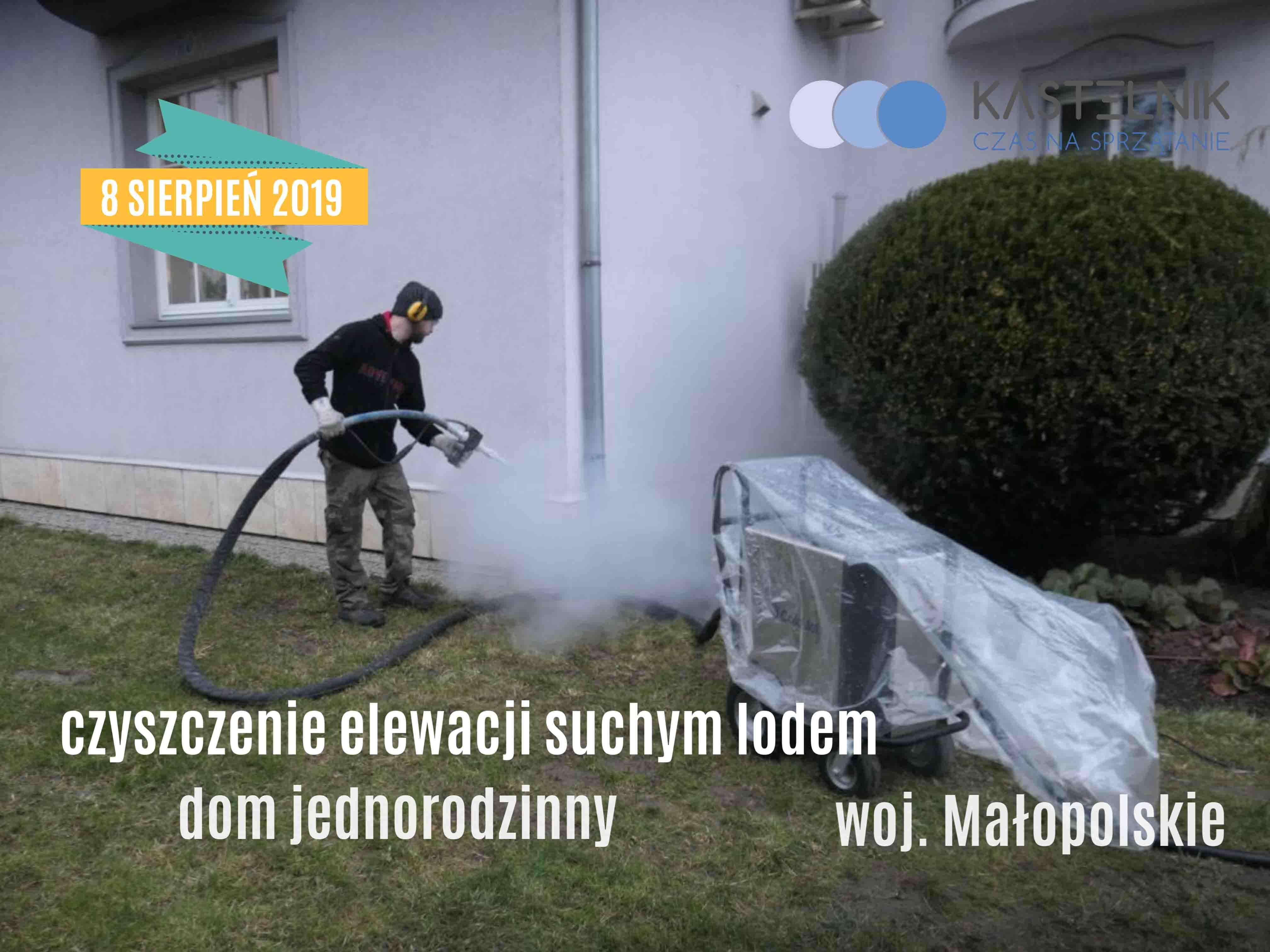 Czyszczenie elewacji domu jednorodzinnego suchym lodem Kraków