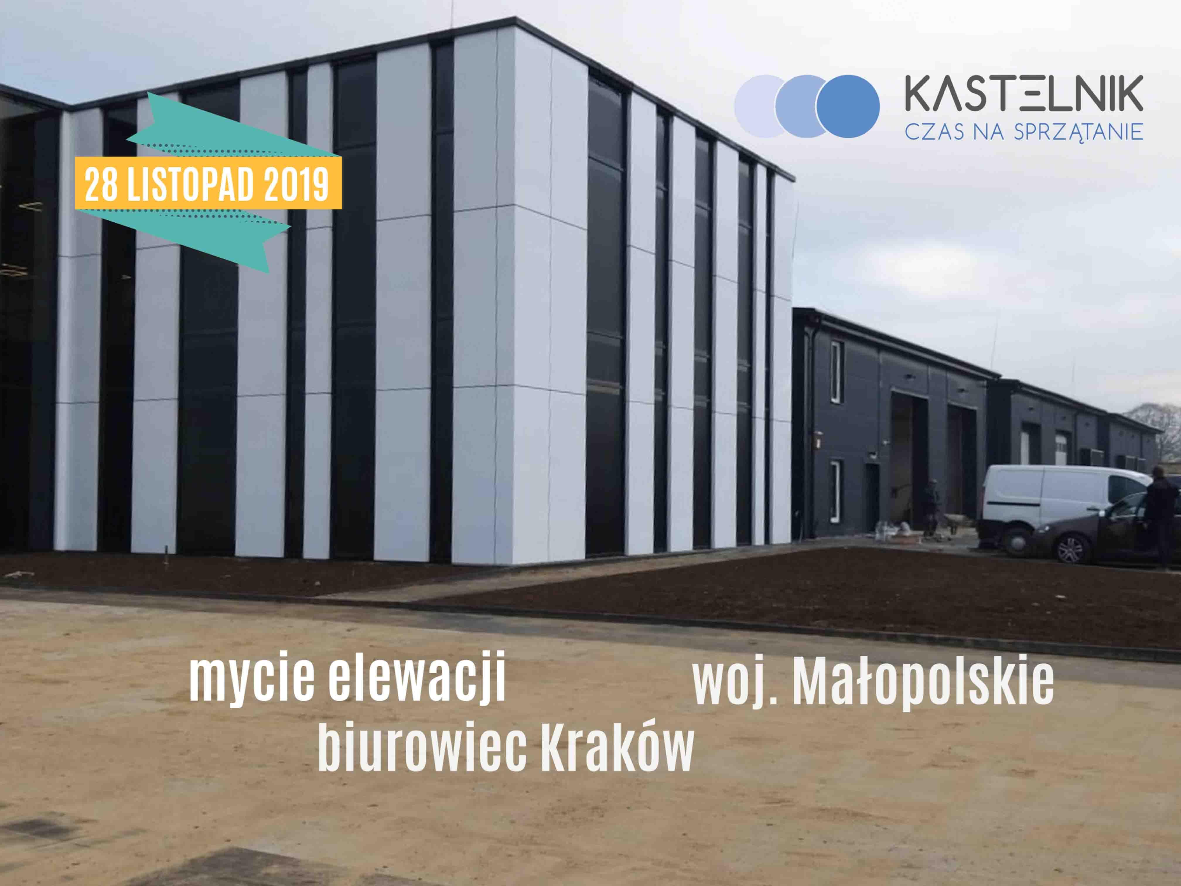 Mycie elewacji biurowca Kraków