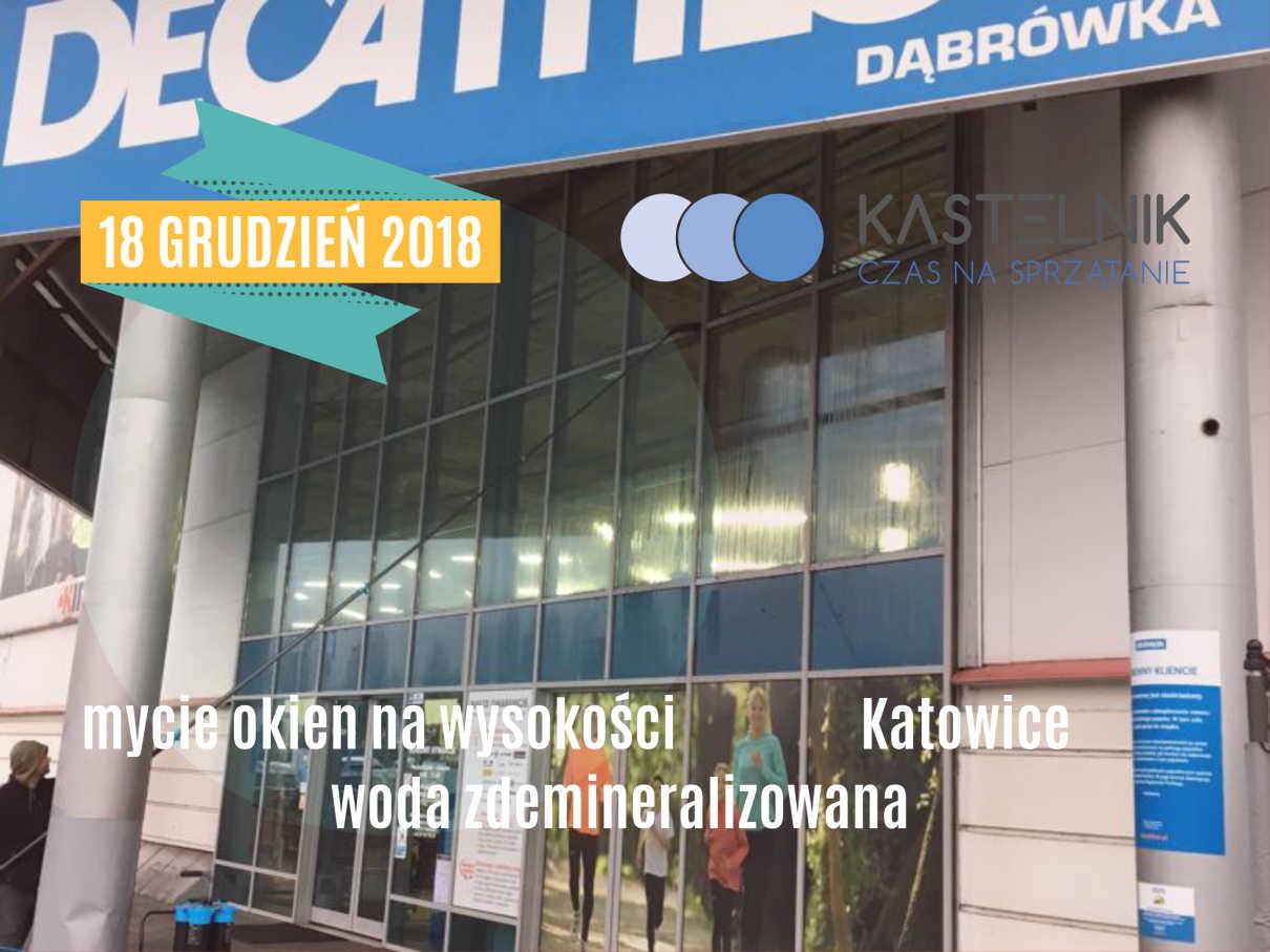 Mycie szklanych elewacji sklepu Decathlon w Katowicach