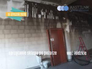 Sprzątanie po pożarze w sklepie - Szczerców