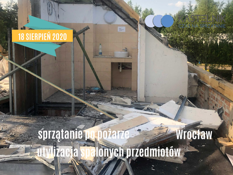 Sprzątanie po pożarze we Wrocławiu