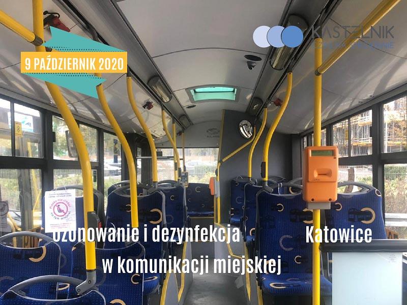 Dezynfekcja pomieszczeń autobusu w Katowicach
