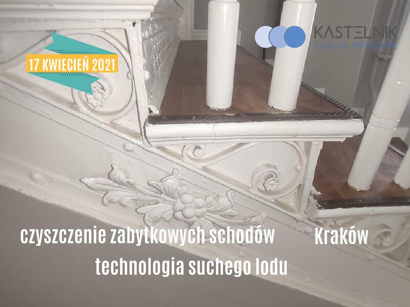 Konserwacja zabytkowych schodów suchym lodem w Krakowie