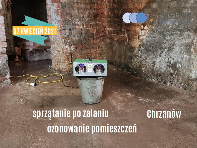 Osuszanie piwnicy po zalaniu na terenie Chrzanowa